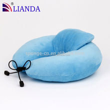 Compressed Blue Neck Pillow, U-shape Adult Pillow, Microbead Bag Neck Pillow