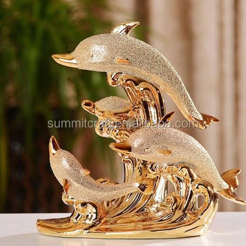 personnalis lectrolytique d 39 or placage int rieur statues de dauphins statues id de produit. Black Bedroom Furniture Sets. Home Design Ideas