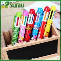 cartoon shape 6 color ball pen