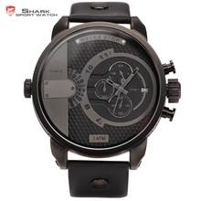 Shark Mens Black Dual Movement 6 Hands Chronograph Sport Men Leather Quartz Watch