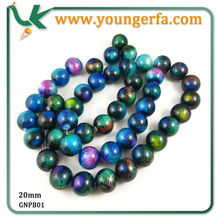 Handmade 20mm Acrylic round beads in peacock colour