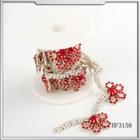 2015 wholesale silver plated copper welding crystal rhinestone cup chain sew on women wedding dress
