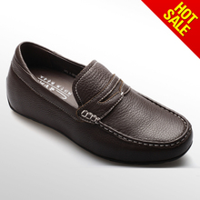 New mens brown leather lined slip on casual shoes
