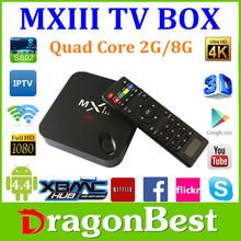 MX3 andriod tv box 2gb Android 4.4 Amlogic S802 Quad Core android tv box 4k decoding ,Octa GPU 2G 8G
