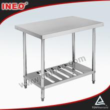 comercial restaurante de cocina de acero inoxidable mesa de trabajo con estante bajo