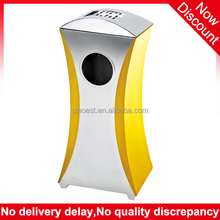 Hotel Decorative Tiny Waist shape stainless steel ashtray color codes for waste bin, industrial rubbish bin