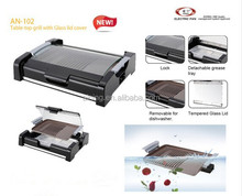 Detachable Non Stick Coated Grill with Glass Lid Upright for Compact Storage