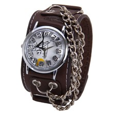 zly491 Fashion retro Men Women Punk Rock genuine Leather Band +double Chain Wrist Watch with Life characters vogue watch