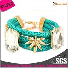 round rhinestone wrap bangle newest trend leather bracelet