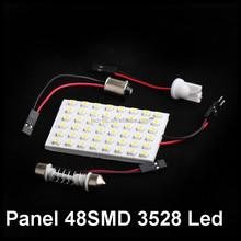 1210 SMD 48 LED White light led car lamp DC 12V Car Interior Dome Bulb + T10 BA9s Dome Festoon