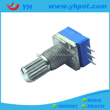 jiangsu 9mm metal shaft rotary 10k ohm linear potentiometer with 3 straight pins