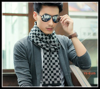 Fashion square pattern winter knit warm scarf for men .