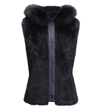Women real white rabbit fur reversible vest with fox fur trim hoodie