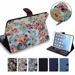 High quality Flower& Jeans leather case for ipad mini