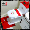 2015 New Gifts Christmas Decoration Santa Toilet Seat Cover and Rug Set