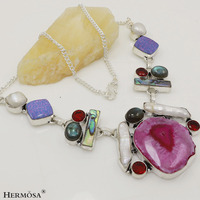 "Hot Xmas Party Genuine Agate Druzy Labradorite Garnet Pearl 925 Sterling Silver Indian Necklace 18.5"""