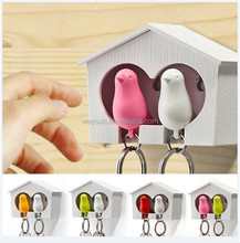bird house keychain holder bird whistle key ring sparrow key ring