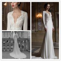 Berta Lace Long Sleeve Back Open Mermaid Custom Made Formal Bridal Dress Vestido De Novia BW103 wedding dresses 2015 new arrival