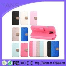 OEM Stylish Wallet PU Leather Crystal Bling Cell Phone Case Cover For Samsung S5