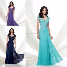 Hot Sale vintage Plus Size Chiffon mother of the bride dresses blue 2015 women evening long dress CYM-001