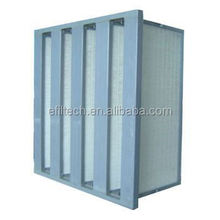 large air volume hepa W shape composed v bank hepa filter sbs frame
