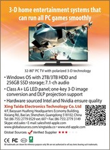 Newest 32-82 inch 3D TV All in one pc smart tv full hd 1080p with IPS screen windows OS and android OS