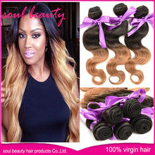 100% unprocessed Brazilian great hair weave two tone hair extensions Strong machine made double weft