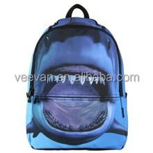 Stylish new design high quality 1680D/PU shark backpacks bags,wholesale school backpack kids