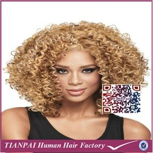 100 japanese kanekalon afro kinky curly heat resistant ombre Two Toned blonde and black full lace synthetic wig for black women