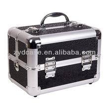 Saucy Cosmetic Train Case w/ Dual Sided 2 Tier Trays - Black Polka Dot ZYD-HZ247