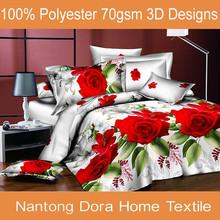 China 3d printed 100% brushed polyester fabric duvet set indian