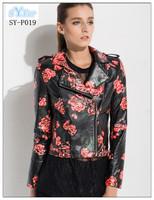 fashion girls Motorcycle genuine leather jacket with printing sheepskin leather jacket and ladies biker lambskin jacket coat