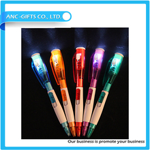 promotional ball pen with LED light customized lgo pen