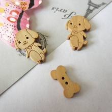 Wholesale DIY dog and bone wood button & Decoration button