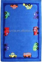 Blue car design hand tufted high quality kids play mat
