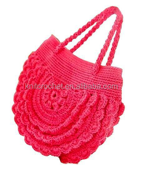 Woolen Crochet Purse : Hand Crochet Bag, child flower crochet bag, wool crochet flower bag ...