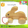 new style natural wooden pull toys OEM intelligent funny gifts toys wooden rabbit for kids EZ5129