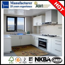Simple Small High Gloss White MDF Door China Kitchen Cabinet Particle Board Carcass High Quality Hardware