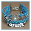 blue faith New bracelets 2015 factory bracelet gift Women Infinity believe Friendship Antique Leather wholesale Bracelet cheap