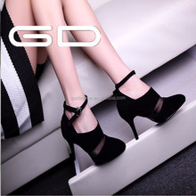 black sexy lace decoration high heel summer women shoes