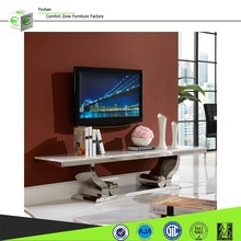 CT8035 Wonderful design stainless steel modern tv stand with marble top