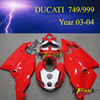 Racing Motorcycle Fairing kits for Ducati 749 999 2003 2004 03 04 body kit