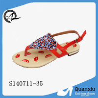 fashion colorful beaded dress shoes ladies fancy flat sandal