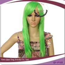 Long cheap straight hair green fashional party city wigs
