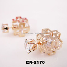 2015 Fashion Accessories Square Cross Earrings Double Sided Earring Jewelry
