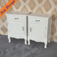 China Manufacturer Supplier PU Painted White Glossy Finish drawer table Wood Furniture