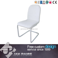 Modern design KD metal white leather dining chair