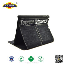 New Design Canvas and Jeans wallet leather Case for iPad mini 2 with stand