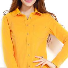 las mujeres 2014 ropa la última blusa de manga larga camisa de pana