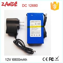 Factory supply DC-12680 6800mAh recharge 12V small lithium ion li-ion polymer battery
